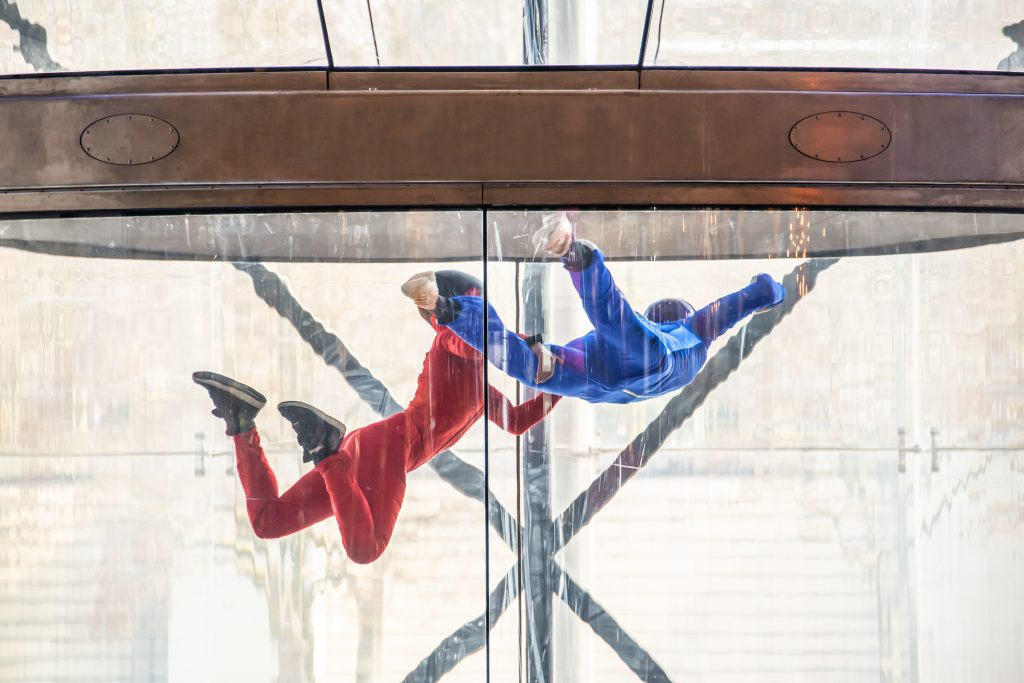 Indoor Skydivers with wind tunnel, free fall simulator