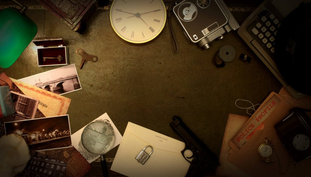 Image that shows different clues for the escape room game, such as a watch, luggage, a gun